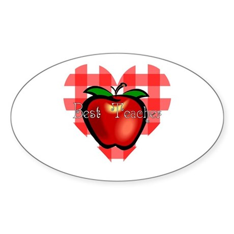 Best Teacher Checkered Heart Apple Oval Sticker