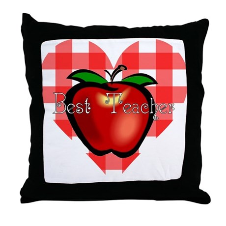 Best Teacher Checkered Heart Apple Throw Pillow