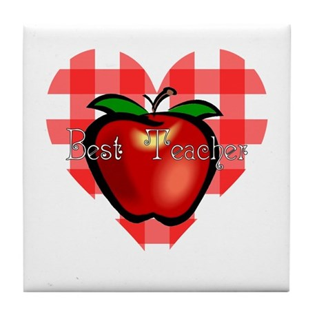 Best Teacher Checkered Heart Apple Tile Coaster