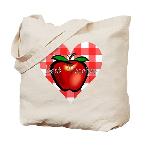 Best Teacher Checkered Heart Apple Tote Bag