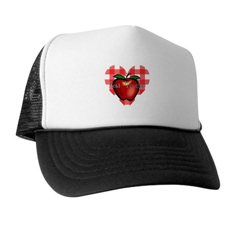 Best Teacher Checkered Heart Apple Trucker Hat