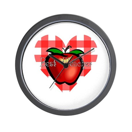 Best Teacher Checkered Heart Apple Wall Clock
