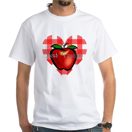 Best Teacher Checkered Heart Apple White T-Shirt