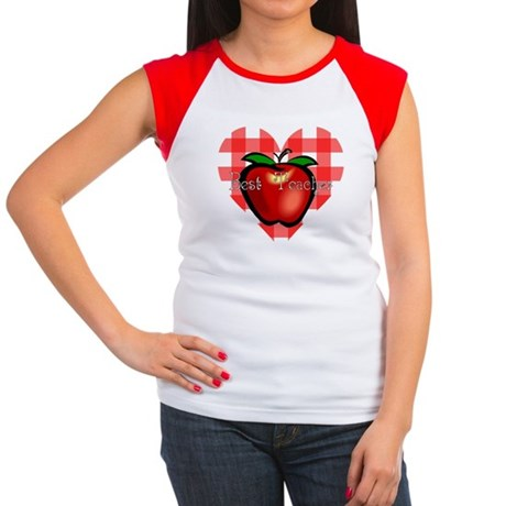 Best Teacher Checkered Heart Apple Women's Cap Sle