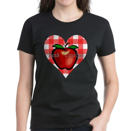 Best Teacher Checkered Heart Apple Women's Dark T-