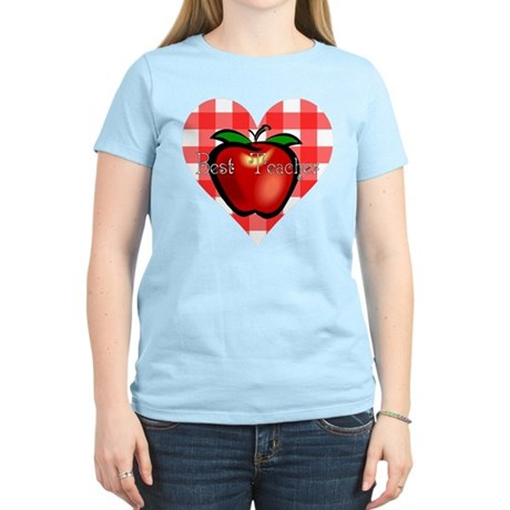Best Teacher Checkered Heart Apple Women's Light T