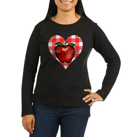 Best Teacher Checkered Heart Apple Women's Long Sl