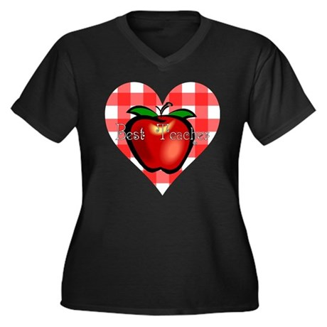 Best Teacher Checkered Heart Apple Women's Plus Si