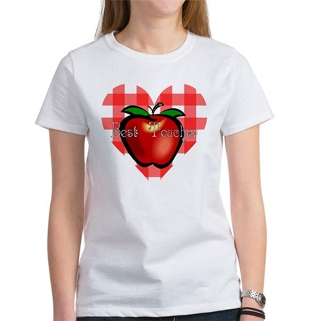 Best Teacher Checkered Heart Apple Women's T-Shirt