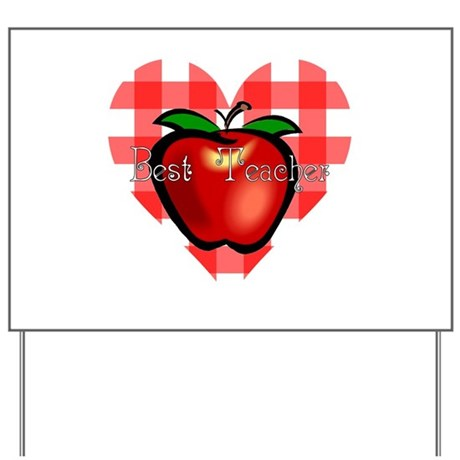 Best Teacher Checkered Heart Apple Yard Sign