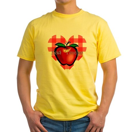 Best Teacher Checkered Heart Apple Yellow T-Shirt