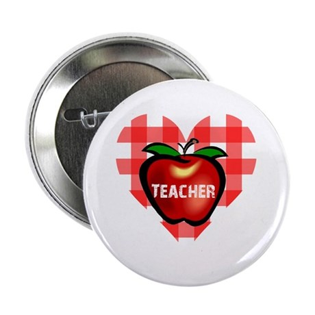 "Teacher Checkered Heart Apple 2.25"" Button (10 pac"