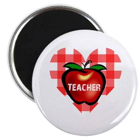 "Teacher Checkered Heart Apple 2.25"" Magnet (10 pac"