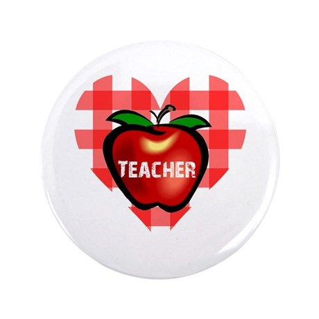 "Teacher Checkered Heart Apple 3.5"" Button"