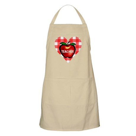 Teacher Checkered Heart Apple BBQ Apron