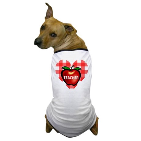Teacher Checkered Heart Apple Dog T-Shirt