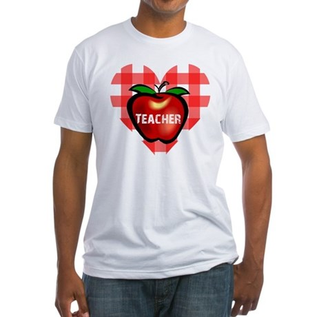 Teacher Checkered Heart Apple Fitted T-Shirt