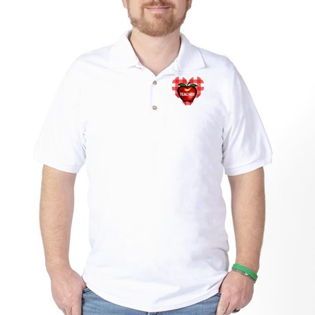 Teacher Checkered Heart Apple Golf Shirt