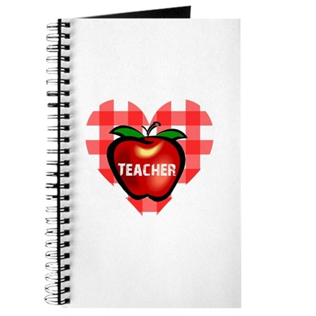 Teacher Checkered Heart Apple Journal