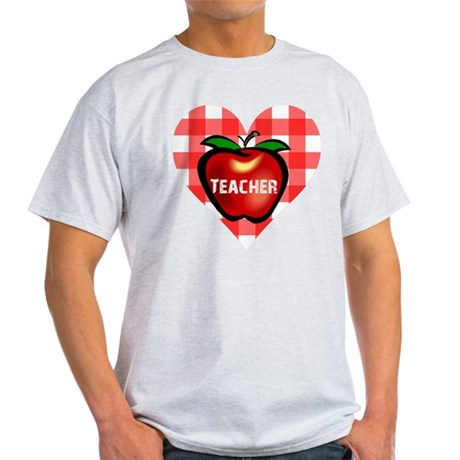 Teacher Checkered Heart Apple Light T-Shirt