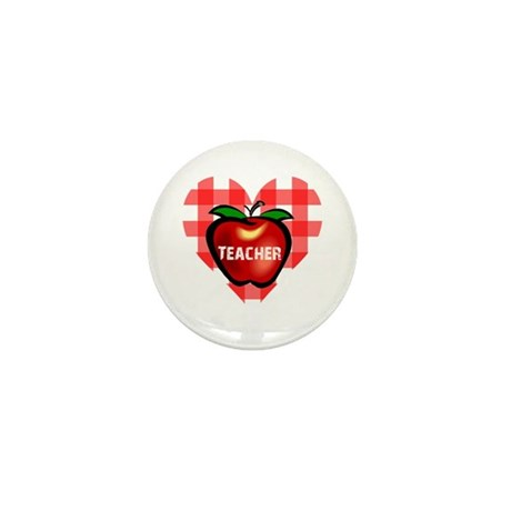 Teacher Checkered Heart Apple Mini Button (10 pack
