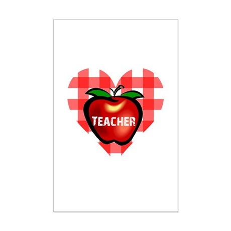 Teacher Checkered Heart Apple Mini Poster Print