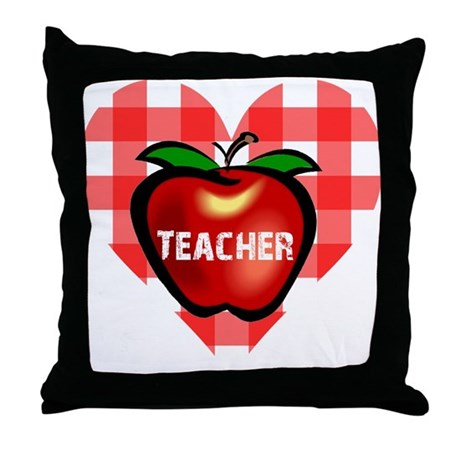Teacher Checkered Heart Apple Throw Pillow