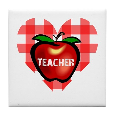 Teacher Checkered Heart Apple Tile Coaster