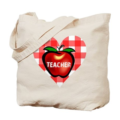 Teacher Checkered Heart Apple Tote Bag