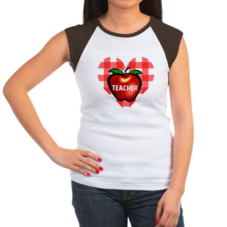 Teacher Checkered Heart Apple Women's Cap Sleeve T