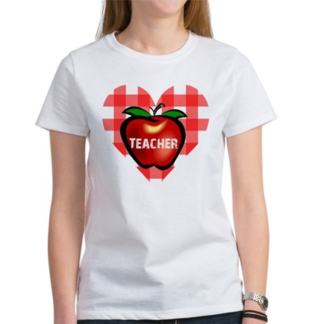 Teacher Checkered Heart Apple Women's T-Shirt