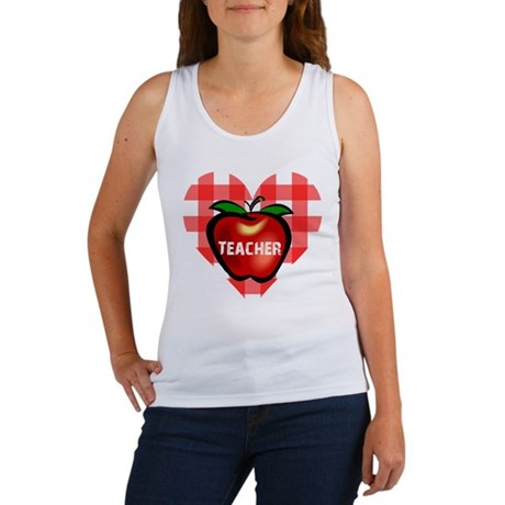 Teacher Checkered Heart Apple Women's Tank Top