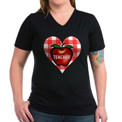 Teacher Checkered Heart Apple Women's V-Neck Dark