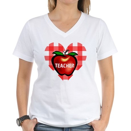 Teacher Checkered Heart Apple Women's V-Neck T-Shi