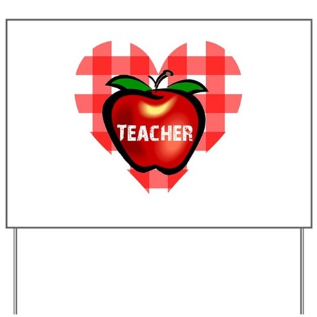 Teacher Checkered Heart Apple Yard Sign
