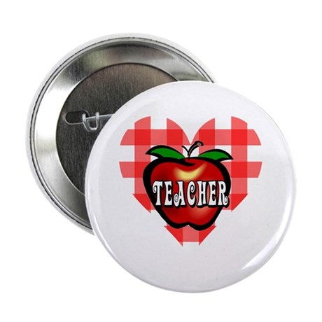 "Teacher Checkered Heart Apple 2.25"" Button"