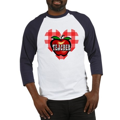 Teacher Checkered Heart Apple Baseball Jersey