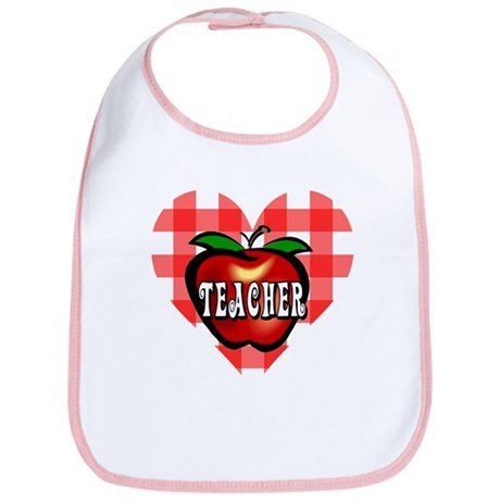 Teacher Checkered Heart Apple Bib