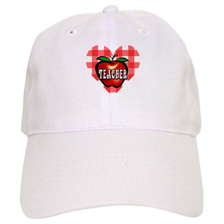 Teacher Checkered Heart Apple Cap
