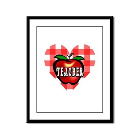 Teacher Checkered Heart Apple Framed Panel Print