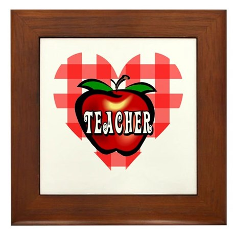 Teacher Checkered Heart Apple Framed Tile