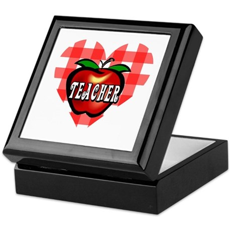 Teacher Checkered Heart Apple Keepsake Box