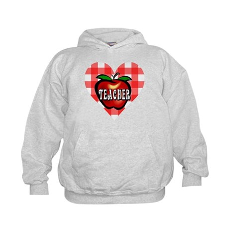 Teacher Checkered Heart Apple Kids Hoodie
