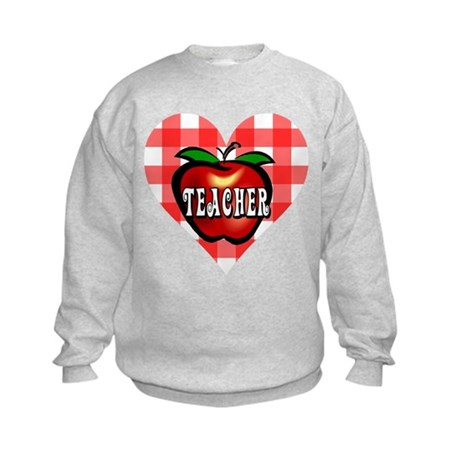 Teacher Checkered Heart Apple Kids Sweatshirt
