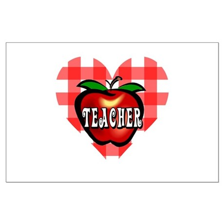 Teacher Checkered Heart Apple Large Poster