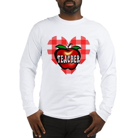 Teacher Checkered Heart Apple Long Sleeve T-Shirt
