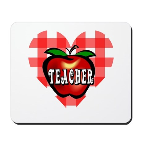 Teacher Checkered Heart Apple Mousepad