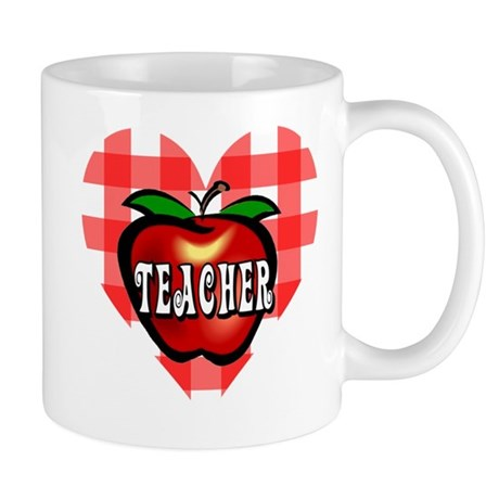 Teacher Checkered Heart Apple Mug
