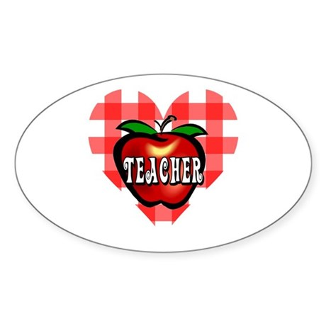 Teacher Checkered Heart Apple Oval Sticker