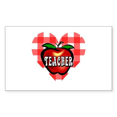 Teacher Checkered Heart Apple Rectangle Sticker